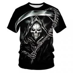 TiwBski Unisex 3D Printing Graphic Skull Tees Shirt Short T Shirt Summer Tops